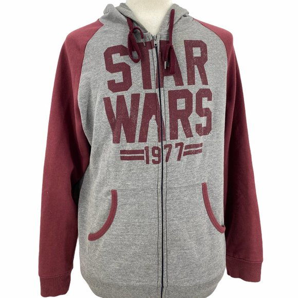 Star Wars Maroon Gray Long Sleeve Full Zip Pockets